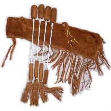leather powwow drum sticks and drum stick bag